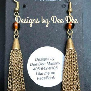 Gold Tone Hook & Fringe Drop Earrings
